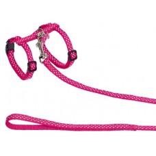 Нагръдник с повод за котка с медальон DOTS розов 78009-15