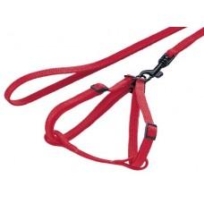 Нагръдник с повод за порче или плъх - изкуствена лента червен