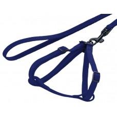 Нагръдник с повод за заек - изкуствена лента син