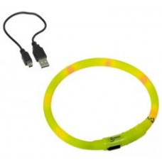 "Светещ LED нашийник ""VISIBLE"" с USB зареждане жълт XL 10 мм / 70 см"