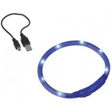"""Светещ LED нашийник """"VISIBLE"""" с USB зареждане син XL 10 мм / 70 см"""