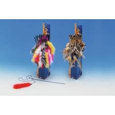 Играчка за котка въдица с платмасова дръжка, въженце и перце 120 см NOBBY Германия 80197
