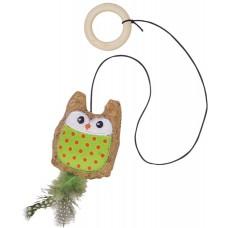 Играчка за котка Корков бухал, зелен плат, с привличаща билка - 7,5 см - 55 см, NOBBY Германия 80269