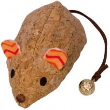 Играчка за котка Коркова мишка, оранжев плат, със звънче и привличаща билка - 19 см, NOBBY Германия 80282