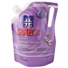 SANIBOX - почиставащ препарат за къщички, котешки тоалетни и подове - ЛАВАНДУЛА, 1000 мл - Италия, 81004