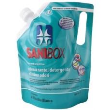 SANIBOX - почиставащ препарат за къщички, котешки тоалетни и подове - БЯЛ МУСКУС, 1000 мл - Италия, 81006