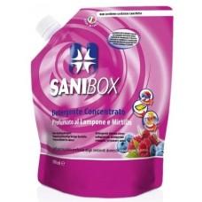 SANIBOX - почиставащ препарат за къщички, котешки тоалетни и подове - МАЛИНА и БОРОВИНКИ, 1000 мл - Италия, 81009