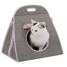 Kerbl Carry Bag Multi 3 in 1 чанта за носене, пещера и играчка, сиво-розово, 42 x 30 x 40 cm, Германия 81630