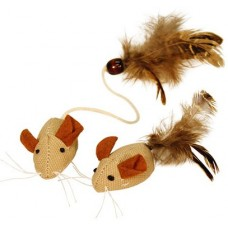 Играчка за котки Kerbl Mice with Feathers Nature - Мишка натурална с пера 2бр - 4,5 см - Kerbl Германия 82633