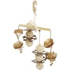 Kerbl Bird Toy Bamboo - Играчка за папагали от бамбук, ракита, дървесна кора, дървена топка 30х15 см - Германия 82941
