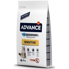 Advance Cat Adult Sensitive - сьомга и ориз, високачествена храна за пораснали котки от 1 до 10 години, лъскав косъм, здрава кожа, Испания - 10 кг