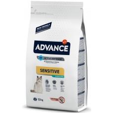 Advance Cat Adult Sterilized Sensitive - сьомга и ечемик, високачествена храна за кастрирани и чувствителни котки над 1 година, контрол на теглото, уринарна профилактика, Испания - 1,5 кг
