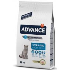 Advance Cat Adult Sterilized - пуйка и ечемик, високачествена храна за кастрирани котки над 1 година, контрол на теглото, уринарна профилактика, Испания - 3 кг