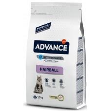 Advance Cat Hairball - високачествена храна за пораснали котки, срещу космените топки, за отглеждане в апартамент, контрол на теглото, Испания - 1,5 кг