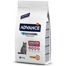 Advance Cat Senior Sterilized - пиле и ечемик, високачествена храна за кастрирани котки над 10 години, за здрави сърце, очи и стави, уринарна профилактика, контрол на теглото, Испания - 1,5 кг