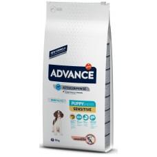 Advance Dog All Breeds Puppy Sensitive - сьомга и ориз, високачествена храна за подрастващи кучета до 1 година, бременни или кърмещи, от всички породи, Испания - 12 кг