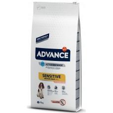 Advance Dog Medium/Maxi Adult Sensitive - сьомга и ориз, високачествена храна за чувствителни или алергични кучета от средни и едри породи, Испания - 12 кг