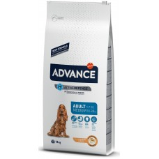 Advance Dog Medium Adult - пилешко и ориз, високачествена храна за пораснали кучета от средните породи, над 1 година, Испания - 14 кг