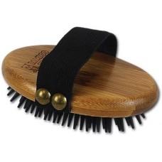 Bamboo Groom Curry Brush with Rubber Bristles - бамбукова четка с гумени бодлички за всеки тип козина, размер 8,3 см ширина х 10,2 см дължина