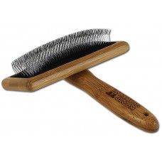 Bamboo Groom Soft Slicker Brush with Stainless Steel & Comfort Pins L - бамбукова четка с ъглови метални бодлички за всеки тип козина, за големи кучета, размер L: 12 см ширина х 6 см височина BGSLLG