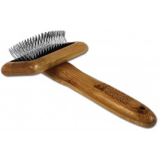 Bamboo Groom Soft Slicker Brush with Stainless Steel & Comfort Pins S - бамбукова четка с ъглови метални бодлички за всеки тип козина, за котки и малки кученца, размер S: 6,7 см ширина х 4,8 см височина