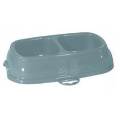 Break 11 - Двойна пластмасова купичка за храна или вода 28 х 17 х 6Н см, 2х400 мл, STEFANPLAST - Италия
