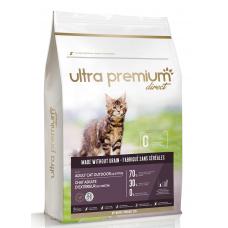 Ultra Premium Direct Adult cat outdoor Kitten - Суха храна за пораснали котки и котенца, отглеждани навън, без зърно, 70% месо и месни съставки, пиле, прасе и риба, 3 кг, Франция CAT0301