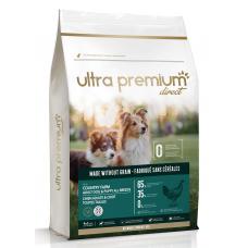 Ultra Premium Direct Country farm Adult dog puppy all breeds - суха храна за кученца и пораснали кучета от всички породи, без зърно, 65% месо и месни съставки, пиле и прасе, 4 кг, Франция GF0401