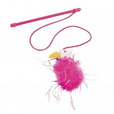 Играчка за котка Въдица Gloria Flamingo 20 см пръчка - 75 см въже розова JU00361