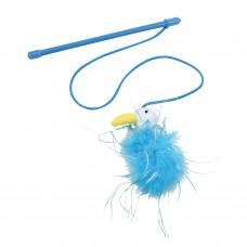 Играчка за котка Въдица Gloria Flamingo 20 см пръчка - 75 см въже синя JU00361