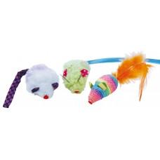Играчка за котка Gloria Rainbow - цветни мишлета 5 см - комплект 3 броя, Испания - JU00363