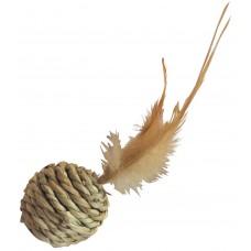 Gloria Natural - топка, натурална котешка играчка - сизал и пера - 15 см, Испания - JU00426