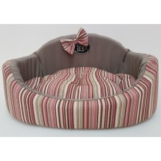 """Легла за домашни любимци серия """"Жанекс"""" с махаща се възглавница - червено розово райе"""