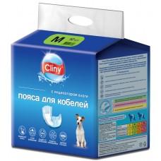 Cliny - хигиенни гащи за МЪЖКИ кучета, размер М, 4-8 кг и талия 35-50 см - 10 бр, Русия K215