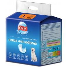 Cliny - хигиенни гащи за МЪЖКИ кучета, размер L, 6-17 кг и талия 45-63 см - 9 бр, Русия K216