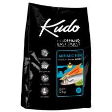 Kudo Low Grain Adriatic Fish Meduim Maxi Adult, студено пресована храна за пораснали кучета от средни и едри породи, над 12 месеца, с риба, БЕЗ ГЛУТЕН - 12 кг - Сърбия
