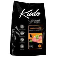 Kudo Low Grain Turkey Duck Medium Maxi Adult, студено пресована храна за пораснали кучета от средни и едри породи, над 12 месеца, с пуешко и патешко месо, БЕЗ ГЛУТЕН - 12 кг - Сърбия