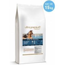 Ultra Premium Direct Adult medium breeds - суха храна за пораснали кучета от средни породи, с ниско съдържание на зърно, 45% месо и месни съставки - домашни птици и сьомга, 15 кг - Франция, LG1504