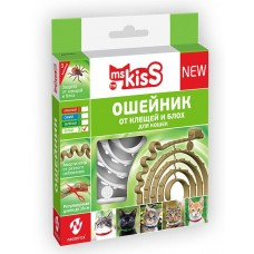 Ms.Kiss - натуралнен, репелентен нашийник за котки БЯЛ, 38 см, Русия, MK05-00190