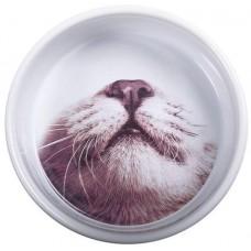 """Pet Brands MOP Ceramic Cat Feeding Bowl - Луксозна керамична купа """"Котешка муцунка"""", за храна или вода 12х5 см, Англия - MOP01"""