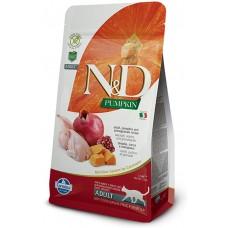 N&D CAT GRAIN FREE PUMPKIN QUAIL & POMEGRANATE ADULT – пълноценна храна за котки над 1 година, с тиква, пъдпъдък и нар - 1500 гр