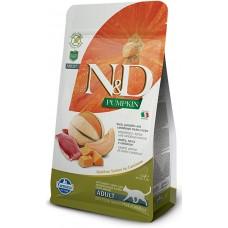N&D CAT GRAIN FREE PUMPKIN DUCK & CANTALUPE ADULT – пълноценна храна за котки над 1 година, с тиква, патица и пъпеш - 1,500 гр