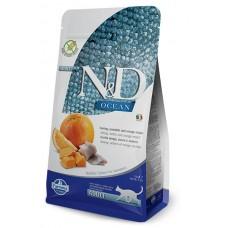 N&D CAT GRAIN FREE PUMPKIN HERRING & ORANGE ADULT – пълноценна храна за котки над 1 година с тиква, херинга и портокал - 1500 гр