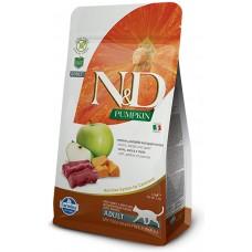 N&D CAT GRAIN FREE PUMPKIN VENISON & APPLE ADULT – пълноценна храна за котки над 1 година, с тиква, еленово месо и ябълки - 1500 гр