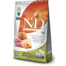 N&D GRAIN FREE PUMPKIN BOAR & APPLE ADULT MEDIUM & MAXI - пълноценна храна за кучета в зряла възраст над 1 година от средните и едри породи с тиква, месо от глиган и ябълка 12 кг