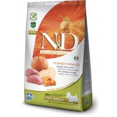 N&D GRAIN FREE PUMPKIN BOAR & APPLE ADULT MINI - пълноценна храна за кучета в зряла възраст над 1 година от дребните породи с тиква, месо от глиган и ябълка 2,5 кг