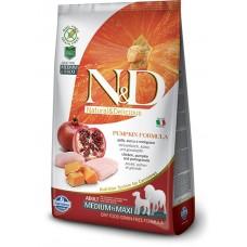 N&D GRAIN FREE PUMPKIN CHICKEN & POMEGRANATE ADULT MEDIUM & MAXI - пълноценна храна за кучета в зряла възраст над 1 година от средните и едри породи с тиква, пиле и нар 12 кг
