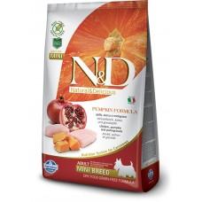 N&D GRAIN FREE PUMPKIN CHICKEN & POMEGRANATE ADULT MINI - пълноценна храна за кучета в зряла възраст над 1 година от дребните породи с тиква, пиле и нар 2,5 кг