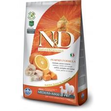 N&D GRAIN FREE PUMPKIN CODFISH & ORANGE ADULT MEDIUM & MAXI - пълноценна храна за кучета в зряла възраст над 1 година от средните и едри породи с тиква, риба треска и портокал 12 кг
