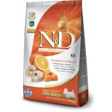 N&D GRAIN FREE PUMPKIN CODFISH & ORANGE ADULT MINI - пълноценна храна за кучета в зряла възраст над 1 година от дребните породи с тиква, риба треска и портокал 2,5 кг